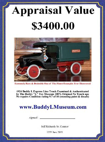Buddy L Museum World's #1 Buyer of Antque Transportation Toys. Free Vintage Toys Price Guide ~ Buying Toy Collections ~ Free Online Toy Appraisals