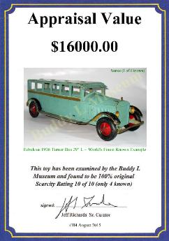 free antique toy appraisals, buying vintage toy trucks,  Kelmet toy truck for sale, 1920's buddy l coach bus for sale, buddy l tugboat for sale,  buddy l trucks value guide, facebook buddy l toys for sale,  john c turner bus extremely rare only 4 known, buddy l bus facebook, turner toy bus, free toy appraisals buddy l, keystone, pressed steel, japan tin, space ships, antique buddy l trucks, cars, trains, boats, planes toy appraisals, antique ebay toys appraisals, www.buddylmuseum.com, buddy l ice truck for sale, buying antique buddy l truck parts,  buddy l red baby for sale, buddy l truck, humongous green buddy l bus prices & appraisals, antique toy trucks, buddy l truck parts, buddy l toy truck page, 1920's buddy l steel toy trucks