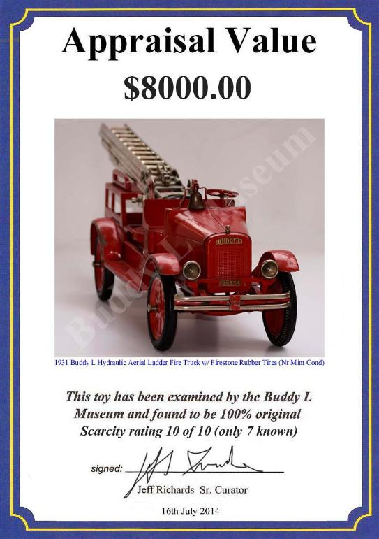 buddy l fire truck 1920 s buddy l toys price guide rh buddylmuseum com Antique Typewriters Price Guide Pottery Price Guide