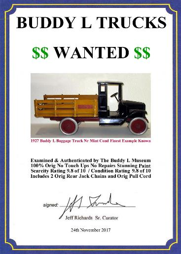 Buddy L Museum buying buddy l trucks, old buddy l trucks for sale, German tin toy appraisals, American toy appraisals,  sturditoy, old toy truck appraisals and information,  keystone Free buddy l trucks price guide, appraise my toy, Vintage space toys Japan American German Free Toy Appraisals Popeye tin toys wanted ebay, mechaical banks, cast iron cars, buying german tin toys,  robots