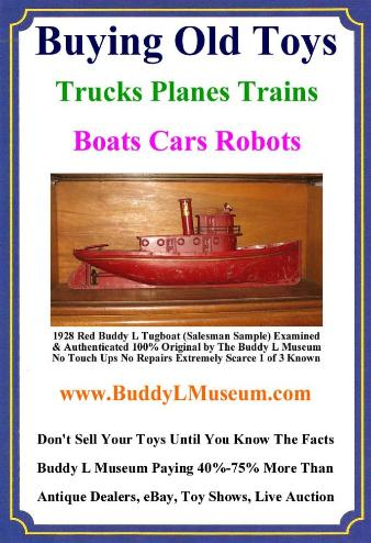 Antique Buddy L Toys Value Guide, Buddy L Tugboat available for sale. Buddy L Toy Museum specializing in Buddy L Tugboats, Buddy L Trucks, Buddy L Cars, Antique Buddy L Trains Buddy L Tug Boat Prices Information